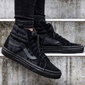 Vans SK8-Hi Reissue Black Velvet Shoes, sz 9.5